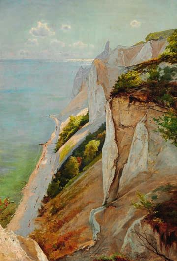 "85 85 FREDERIK WINTHER b. Copenhagen 1853, d. Frederiksberg 1916 ""Udsigt over en Del af Møens Klint"". View of the Cliffs of Møn. Signed and dated Fr. Winther 1906. Oil on canvas."