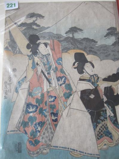 Japanese Obon Woodblock Triptych by