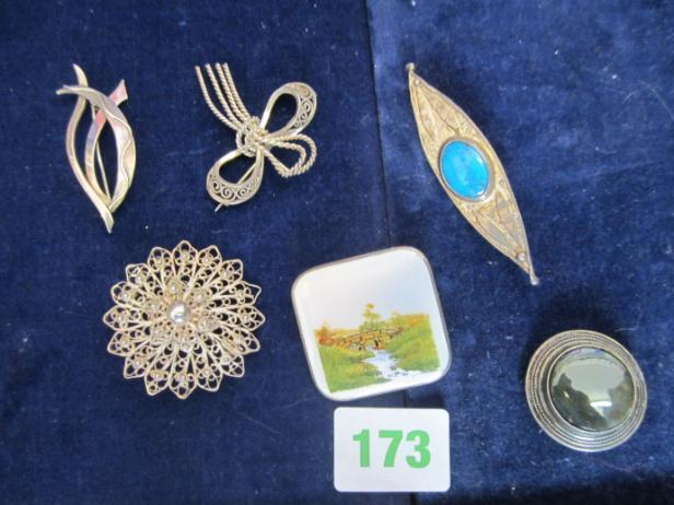 Assorted silver brooches inc enamel hand