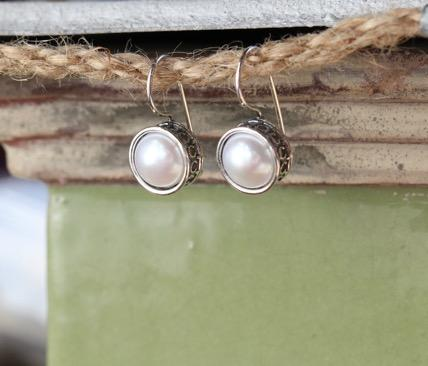 Sterling Silver Round Button Pearl Earrings,