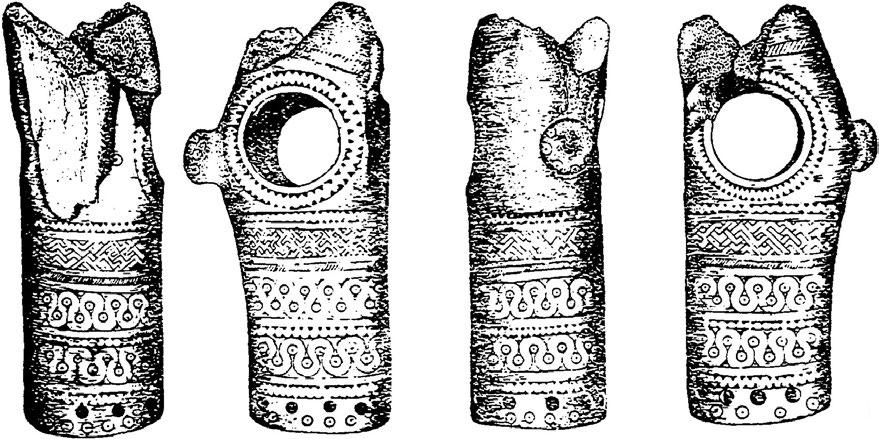 In the Romanian MBA and LBA sites others objects made of bone and antler with a spiral or/and meandered decoration had been also discovered.