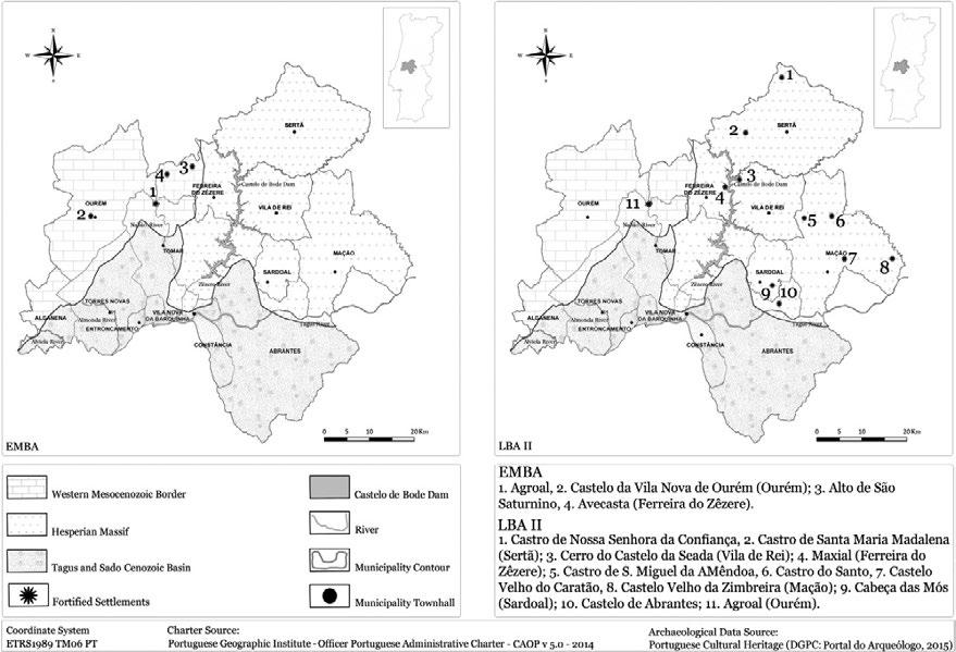 A. Cruz: Middle Tagus Region and the Autochthonous evidences in Late Bronze Age I Figure 3. Bronze Age Fortified Settlements from Middle Tagus region. Source: Ana Cruz, 2015.