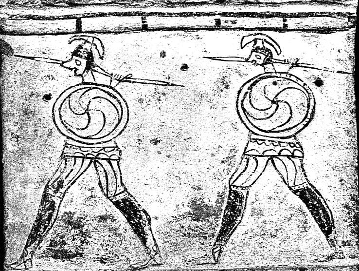 Later Prehistory to the Bronze age: 1. The Emergence of warrior societies Figure 6. Five arm curved swastikas on shields. (After Temizszoy et al., n/dated).