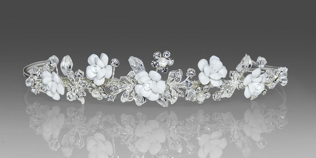 #2232 Darling headpiece with diamond white porcelain flowers,