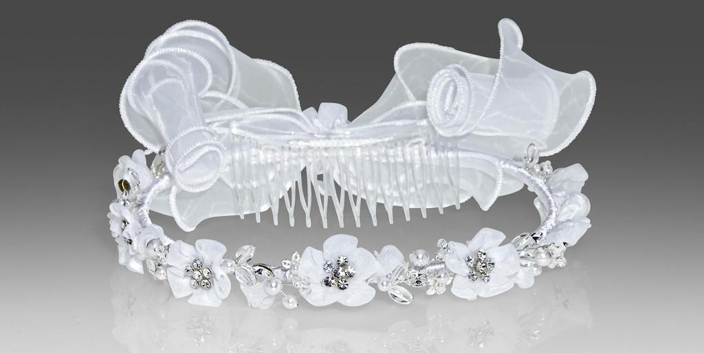 #1467 Bright white organza floral wreath with Swarovski stones & curly bow in