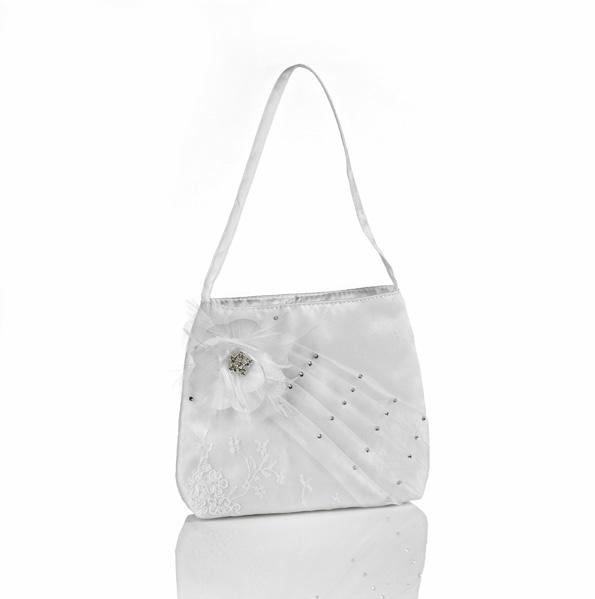 #2695 Satin, crystals, sheer organza, and an underlay of beautiful lace make this purse a best seller.