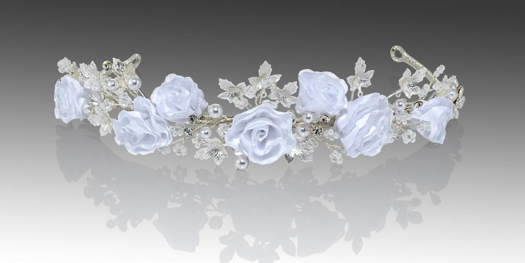 #3144 offered in silver or gold, this blossom tiara made with Satin