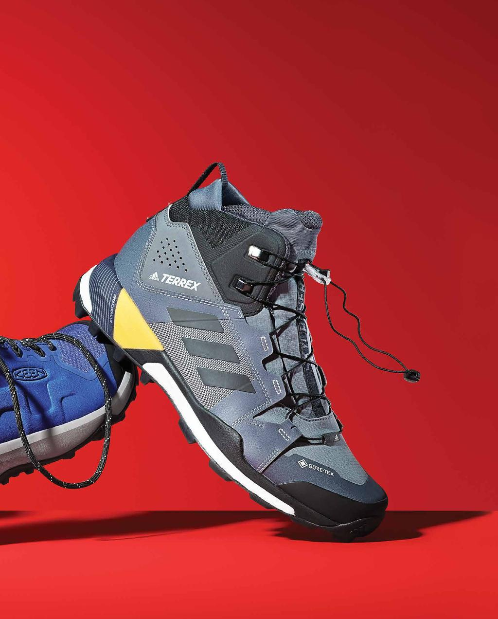 TREK MAJOR TREADS, ARCTIC DETAILS, CUSHY LAYERS, LACING SYSTEMS AND OTHER FEATURES GIVE OUTDOOR S NEWEST HIKERS, RUNNERS AND ALL-PURPOSE BOOTS BOTH FUNCTIONAL BOOST AND AN IRON MAN-LIKE BRAVADO.