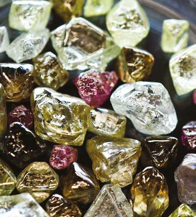 INSIGHT Natural rough diamonds from Rio Tinto s Argyle Mine in Australia (Picture courtesy of the Diamond Producers Association); Lightbox collaterals at the Las Vegas McCarran International Airport
