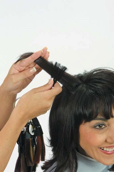 IDENTIFYING NATURAL LEVEL AND TONE Take a 2-inch square section in crown and hold up from scalp; allow light to pass