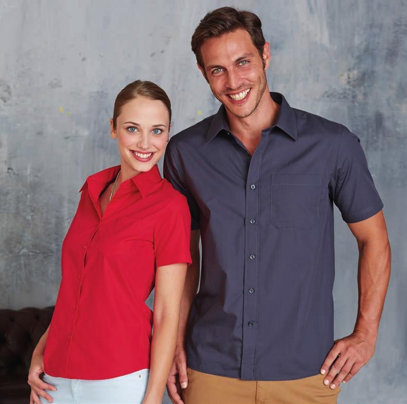 100 % COTTON POPLIN KA544 LADIES SHORT SLEEVE EASY CARE COTTON POPLIN SHIRT 100% Cotton poplin. Easy Care fabric. Soft collar. Self coloured buttons. Left chest pocket. 1 spare button. Shaped hem.