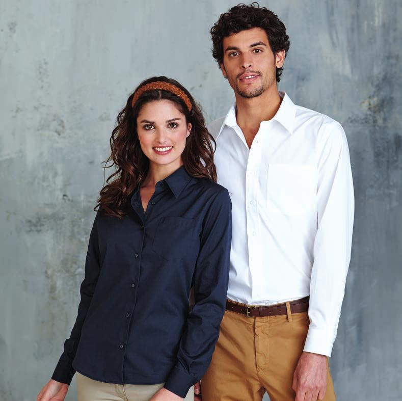 WITH CHEST POCKET KA542 LADIES LONG SLEEVE EASY CARE COTTON POPLIN SHIRT 100% Cotton poplin. Easy Care fabric. Soft collar. Self coloured buttons. Left chest pocket. Adjustable cuffs. 1 spare button.