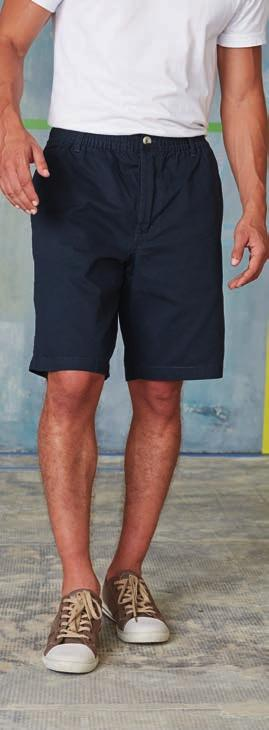 KAM401 SAILING SHORTS 100 % Cotton Peached Twill - enzyme washed. Zip fly with rivet button over. Drawcord on inner waistband. Contrast bartacks on belt loops & pockets.