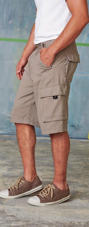 KA770 MEN S BERMUDA 100 % Cotton twill, garment washed. Elasticated waistband. Belt loops. 2 side pockets. 1 back pocket with flap and button.