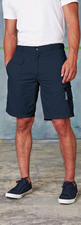 2 back pockets with tear release fastening. Double pocket with tear release fastening at legs.