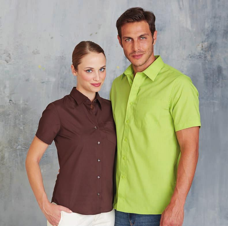 13 colours! KA548 JUDITH - LADIES SHORT SLEEVE EASY CARE POLYCOTTON POPLIN SHIRT 65 % Polyester 35 % Cotton Poplin. Easy Care fabric. Soft Collar. Self coloured buttons. Left chest pocket.