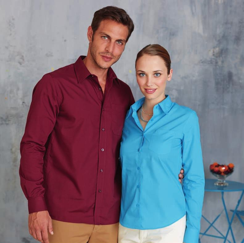 Easy Care SO00569 1 KA545 JOFREY - MEN S LONG SLEEVE EASY CARE POLYCOTTON POPLIN SHIRT 65 % Polyester 35 % Cotton Poplin. Easy Care fabric. Cut-away boned collar. Cross stitched self coloured buttons.