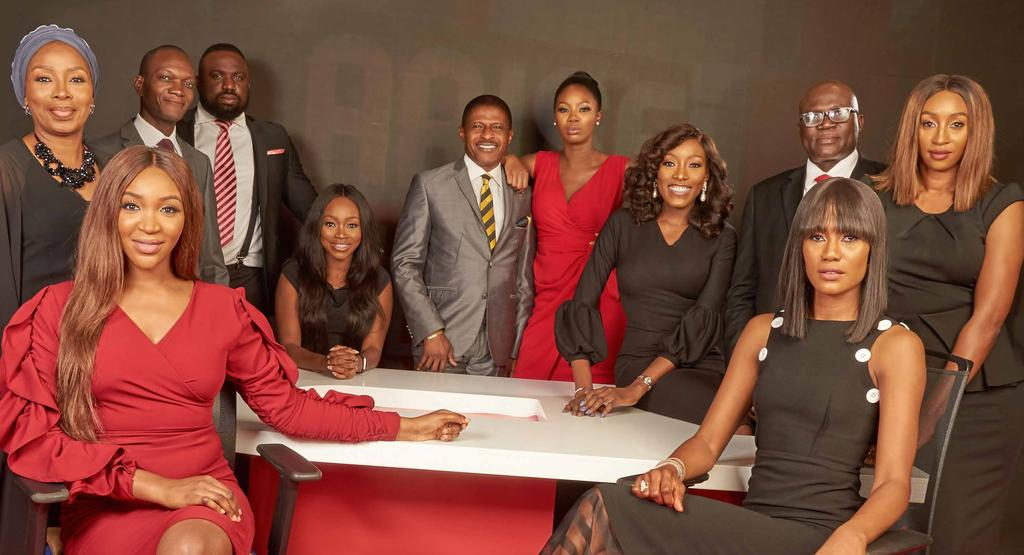 Arise news anchors// front row L-R: