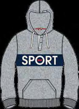 DELIVERY 1 / SPRING 2018 SPORT HOODED FLEECE 60% Cotton 40% Polyester Fleece Custom Pullover Hooded Style Color Block Chest Panel 3 Button Placket Printed Logo Art Lower Body Pocket Cuff And Hem