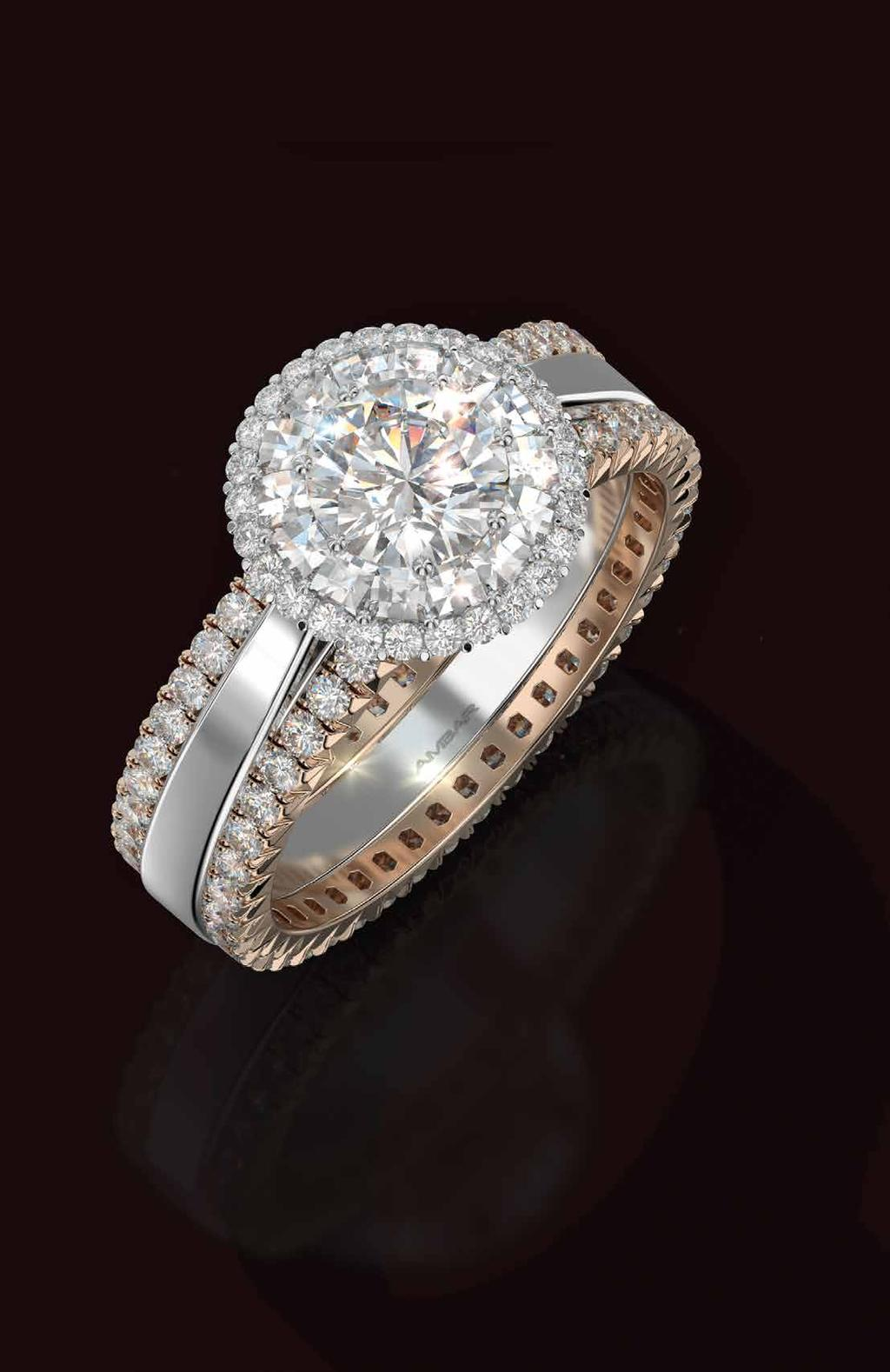 Flower of Light Flower of Light ring with a double Blaze and pavé diamonds halo and two delicate rose gold bands.