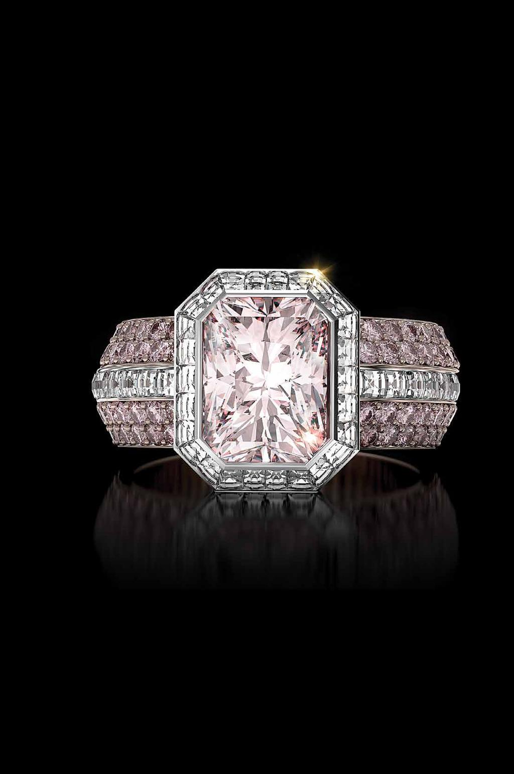 Frame of Fire Frame of Fire ring featuring a fancy pink radiant diamond with pink diamond bookend bands. A.