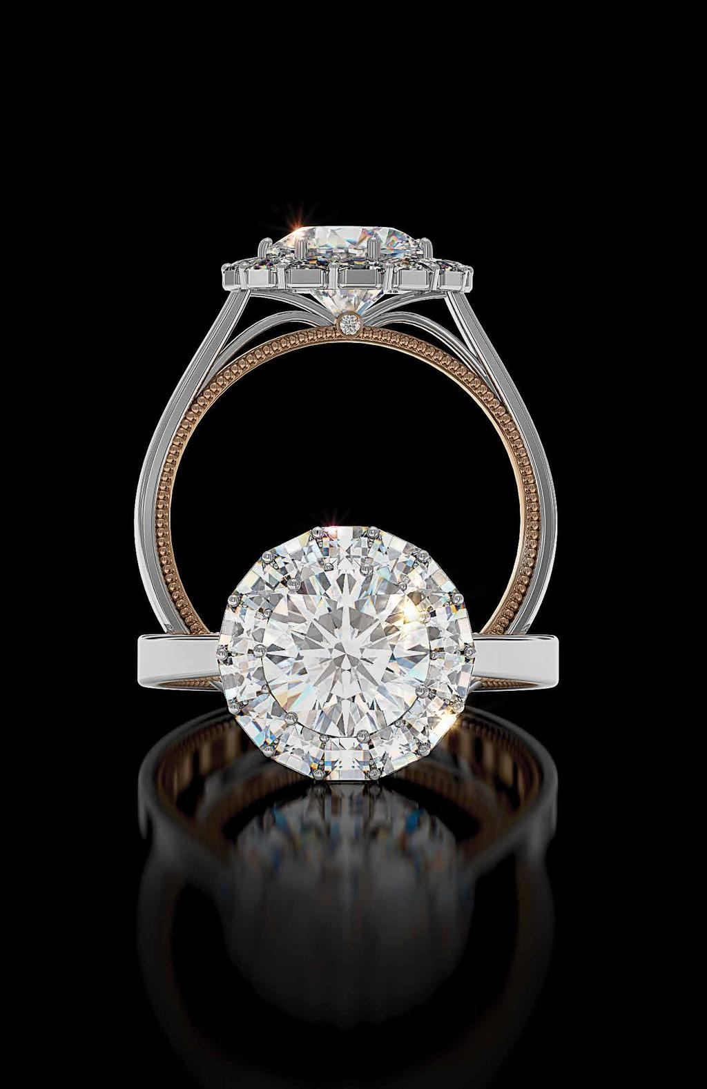 Ring of Fire Rose and white gold Ring of Fire with Blaze diamonds for a round center - the ultimate halo. A.