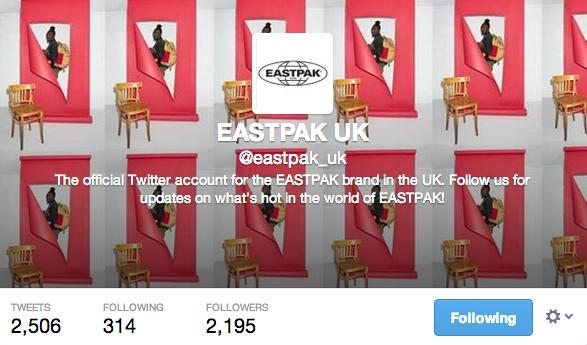 Perhaps its because the Twitter account has not shown up at Eastpak (UK) official website, the followers are relatively low.