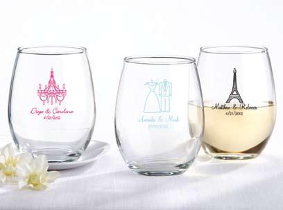 Personalized Stemless Wine Glass There s nothing to get in the way of your celebration with this clear wine glass. Holds 8 oz.