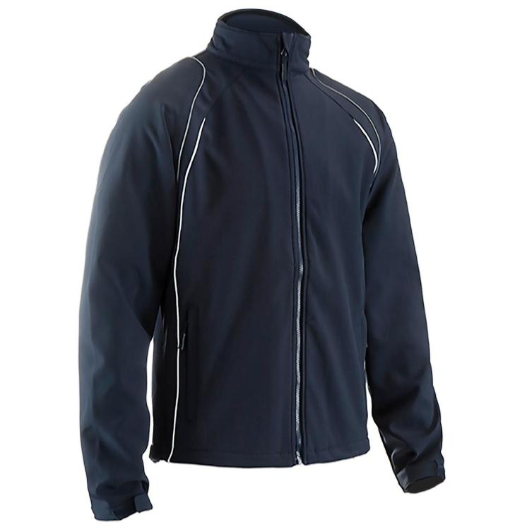 TEAM JACKET Description Full zip soft-shell Colours Black, Navy (with contrast reflective/white piping) Sizes SY - XXXL Fabric 100% polyester 310gsm water repellent 2 layer