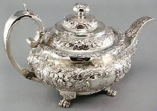 Lot # 415 415 416 417 418 419 420 Irish sterling silver teapot, hallmarked, James Le Bas, Dublin 1834.
